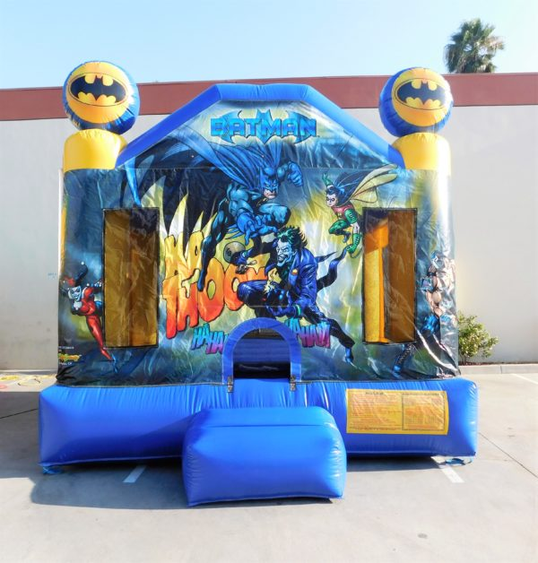 Batman Bounce House with Batman and characters on it