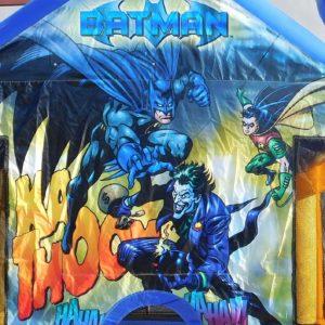 Close up of Batman, Robin, and Joker on the Batman Bounce House