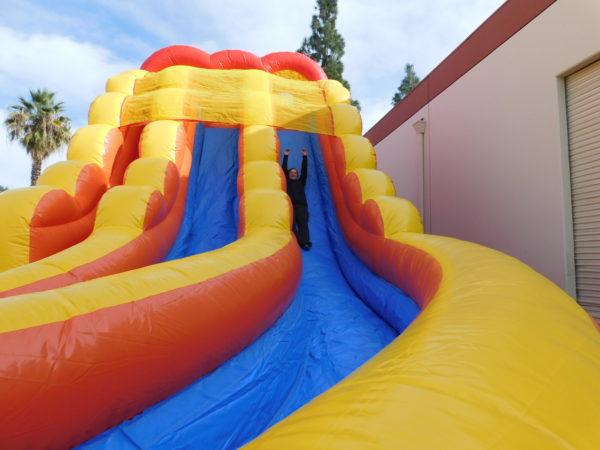 Sliding down the 20ft Inflatable Slide