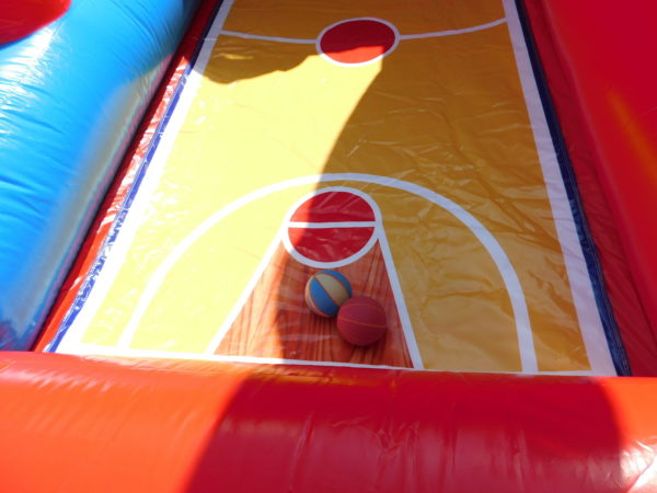 Picture of basketballs in lane of dual basketball competition
