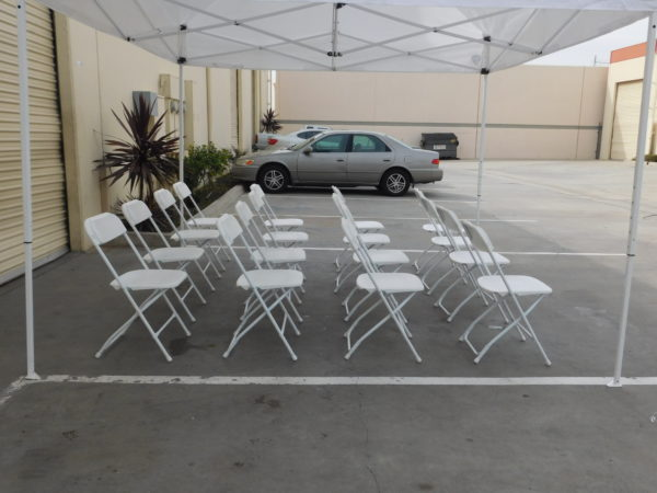 Photo of Side view of standard folding chairs