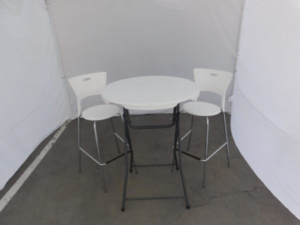 Close Up Picture of Standing Height Table and Bar Stools