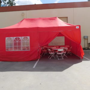 10x20 Red Pop Up Canopy with Walls