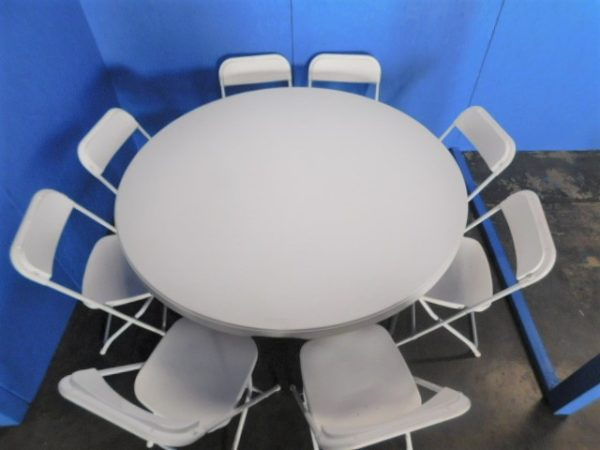 """Overhead Photo of Chairs at 60"""" round table"""
