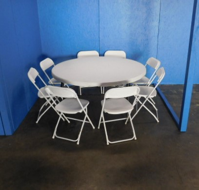"""Picture of 8 chairs at 60"""" round table"""