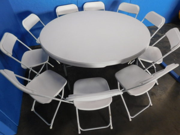 """Close up photo of 10 chairs at 60"""" round table"""
