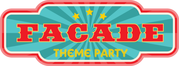 Photo of facade theme party logo